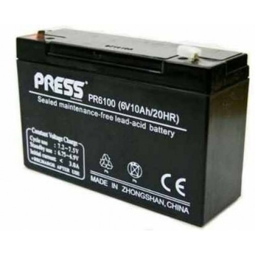 Batería de gel de 6 V, 10 Amp - PR6100 - Press