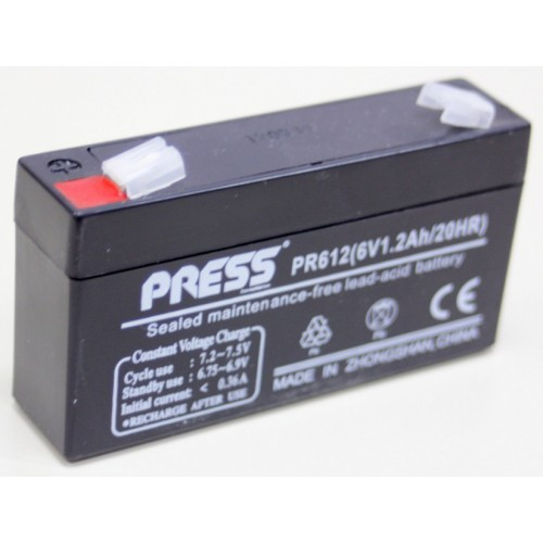 Batería de gel de 6 V, 1.2 Amp - PR612 - Press