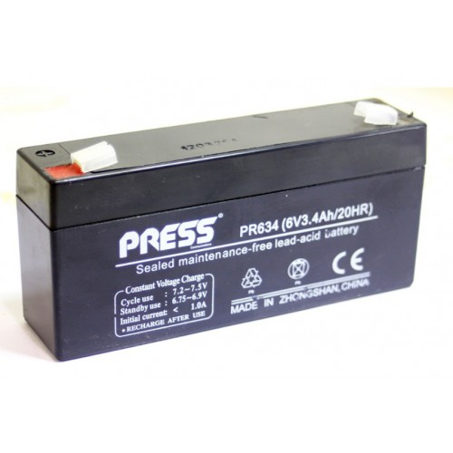 Batería de gel de 6 V, 3.4 Amp - PR634 - Press