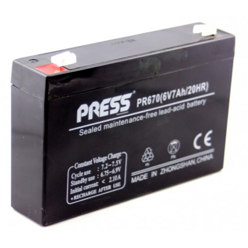 Batería de gel de 6 V, 7 Amp - PR670 - Press